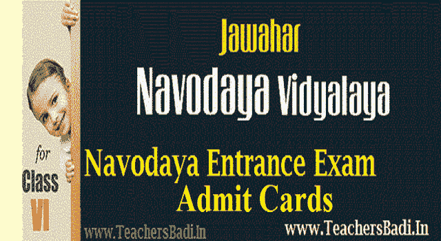 Navodaya 6th class entrance exam Admit Cards/Hall tickets 2018 download