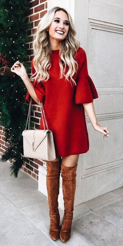 From casual outfits for family reunions to crazy trendy party outfits, we've got your back see these 24 Best Christmas Outfits You Can Shop this Holiday Season. | Red mini dress | #christmas #holiday #newyear #minidress