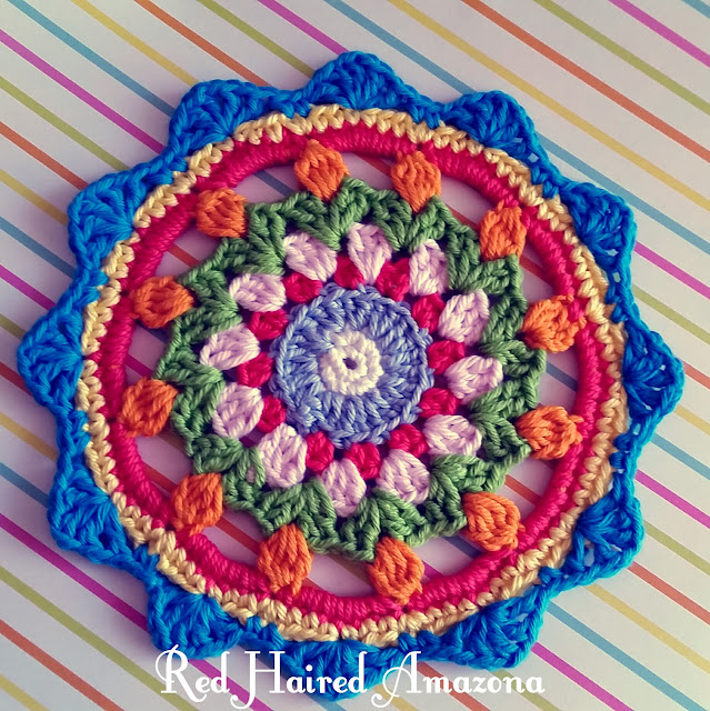 Happy Flower Crochet Mandala - a free tutorial by Red Haired Amazona