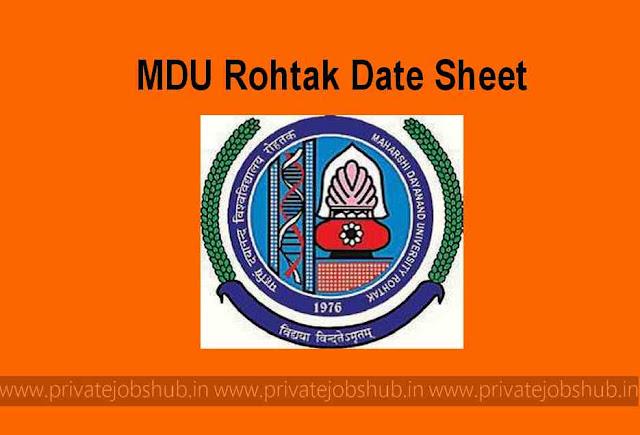 MDU Rohtak Date Sheet