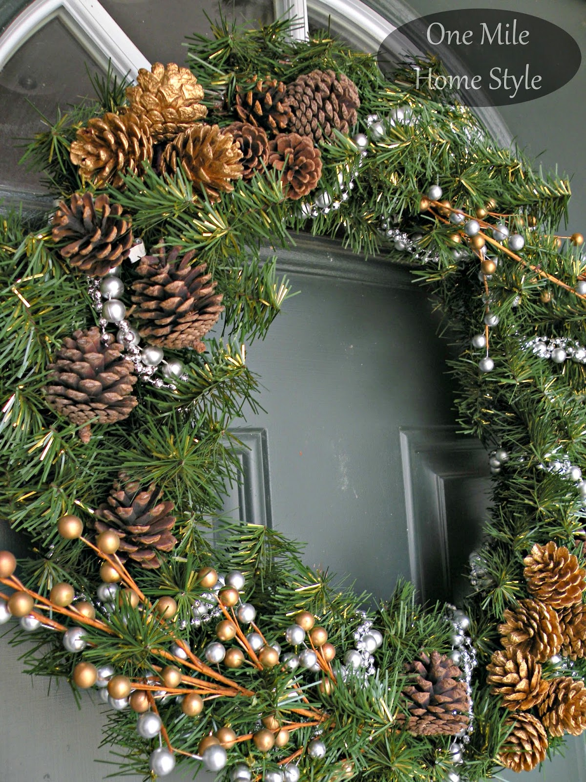 Silver and Gold Wreath with Pinecones