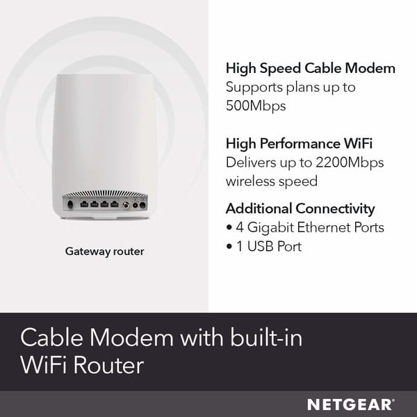 Review NETGEAR CBR40-100NAS Orbi All-in-One Cable Modem