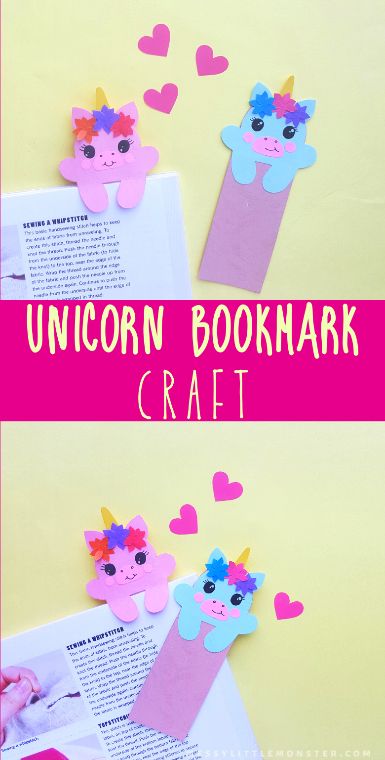 Unicorn craft for kids. Easy paper bookmark craft with template.