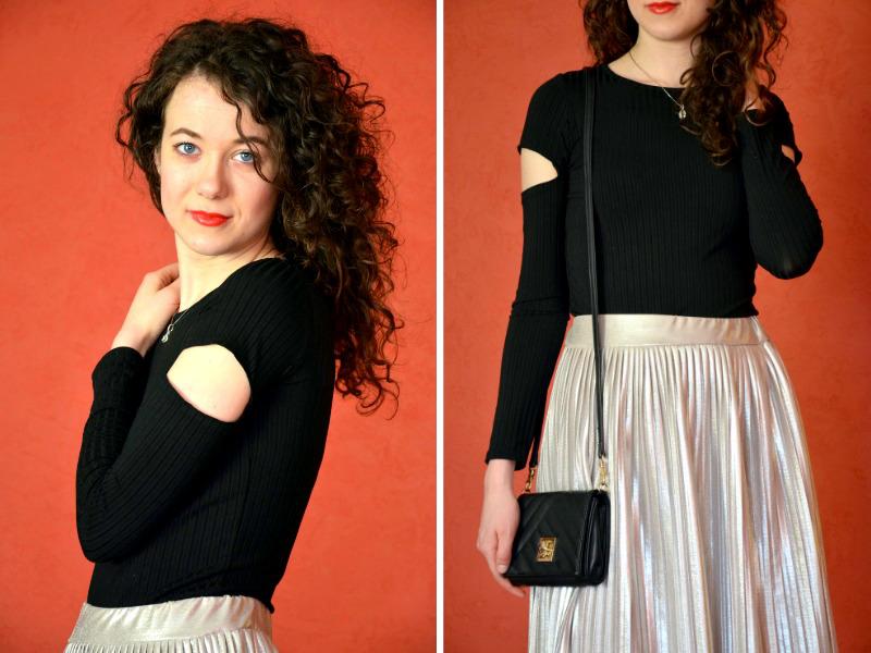 spódnica plisowana, midi, spódnica MIDI, kręcone włosy, srebrna spódnica, plisowana spódnica, czarna bluzka, black and silwer, randka , szpilki