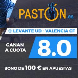 Paston Megacuota 8 Liga Levante vs Valencia + 100 euros 16 septiembre