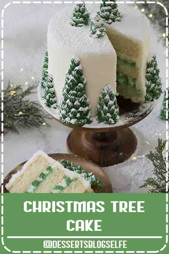 This moist, fluffy, and delicious Christmas tree cake from Preppy Kitchen has vanilla layers enrobed in creamy, vanilla buttercream, covered with beautiful Christmas trees that turn this cake into a dreamy winter wonderland. #DessertsBlogSelfe #holidaycake #christmastreecake #bestcakes #DessertsforParties #christmas