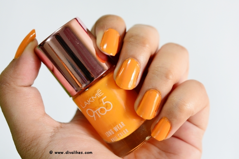 Lakme 9 to 5 Long Wear Nail Color Saffron Space Review | Diva Likes