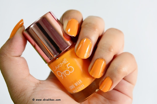 Lakme 9 to 5 Long Wear Nail Color Saffron Space Review