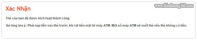 Hình 3: Thông báo thẻ MasterCard của bạn đã được kích hoạt thành công