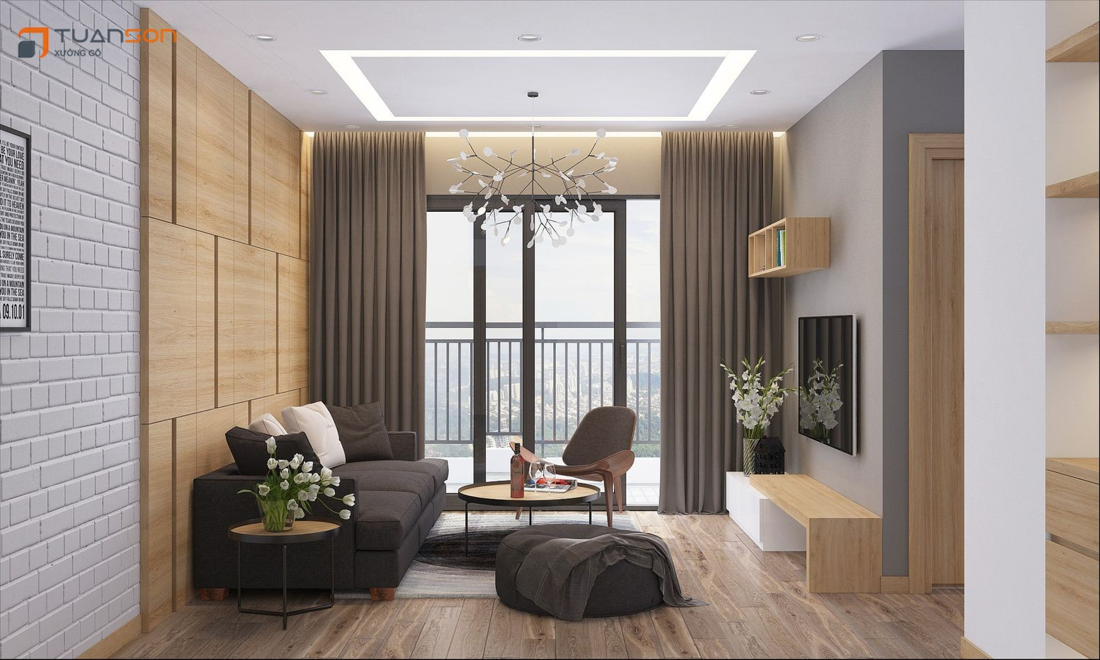 Thiết kế nội thất căn hộ 2 phòng ngủ 74m2 chung cư Phương Đông Green Park Số 1 Trần Thủ Độ