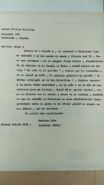 Correspondencia de Enrique Lihn y Carmen Balcells