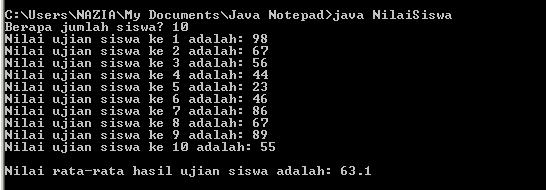 Pemecahan Masalah Pada Program Java Dengan Menggunakan Array