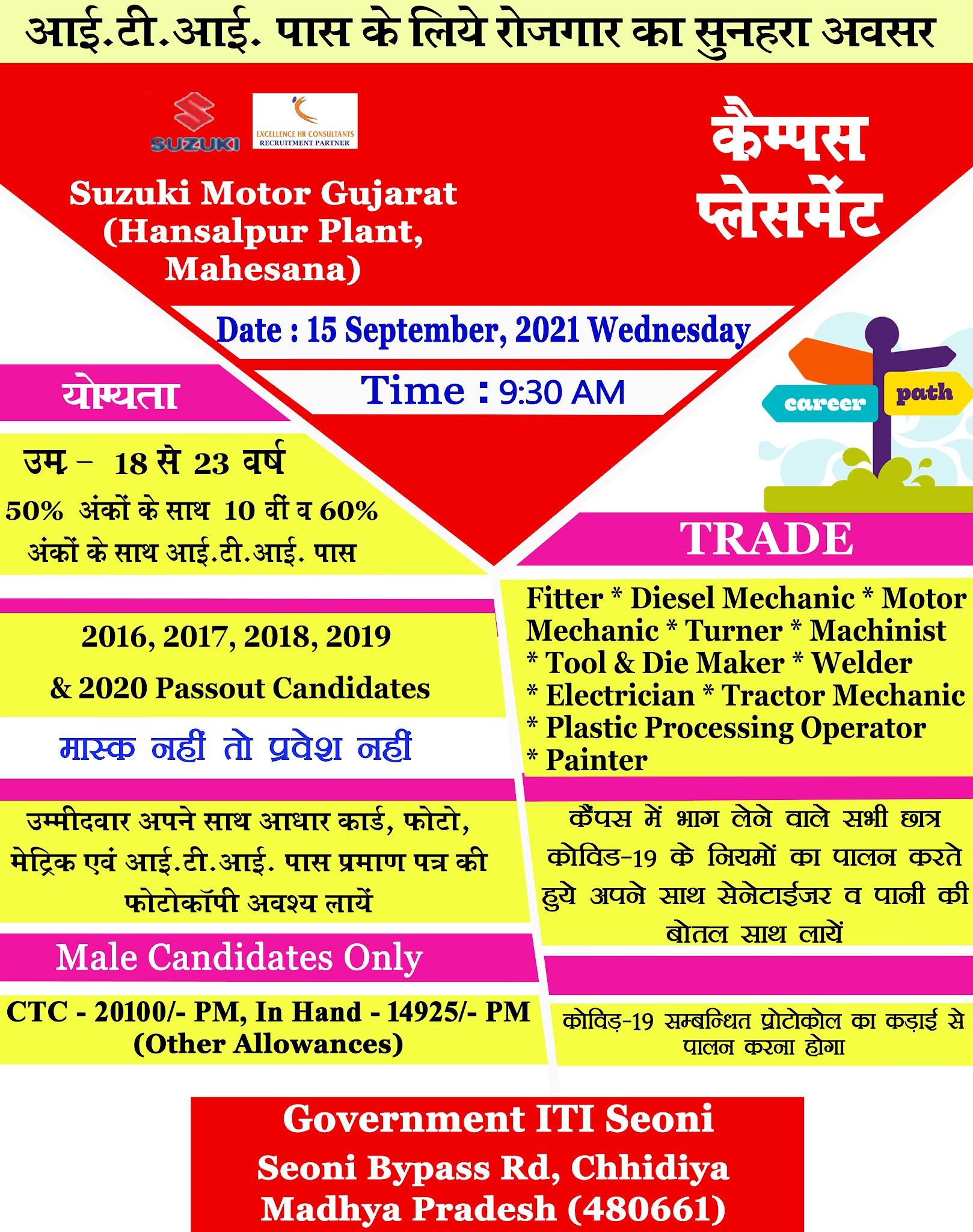 ITI Campus in Madhya Pradesh- ITI Jobs Recruitment 2021 For Suzuki Motors Cars Manufacturing Plant at Govt ITI Seoni   Govt ITI Mandla   Arihant Pvt ITI Balaghat