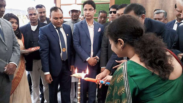 Darjeeling MP Raju Bista inaugurating new building in Siliguri
