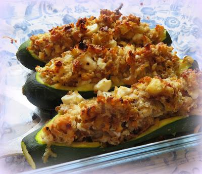 Stuffed Zucchini with Toasted Walnuts & Feta