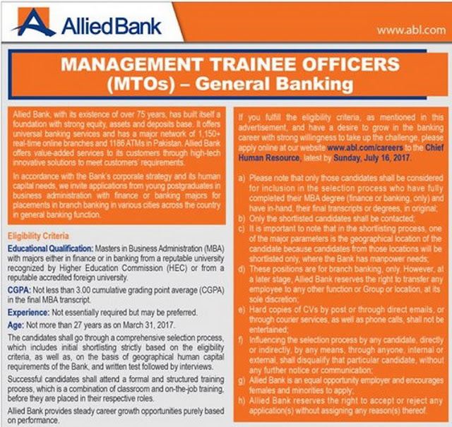 Management Trainee Officers Jobs in Allied Bank Pakistan 2017