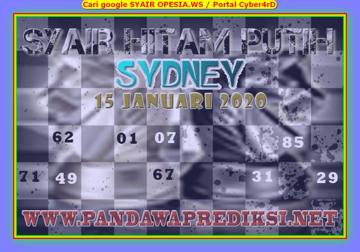 Kode syair Sydney Rabu 15 Januari 2020 119