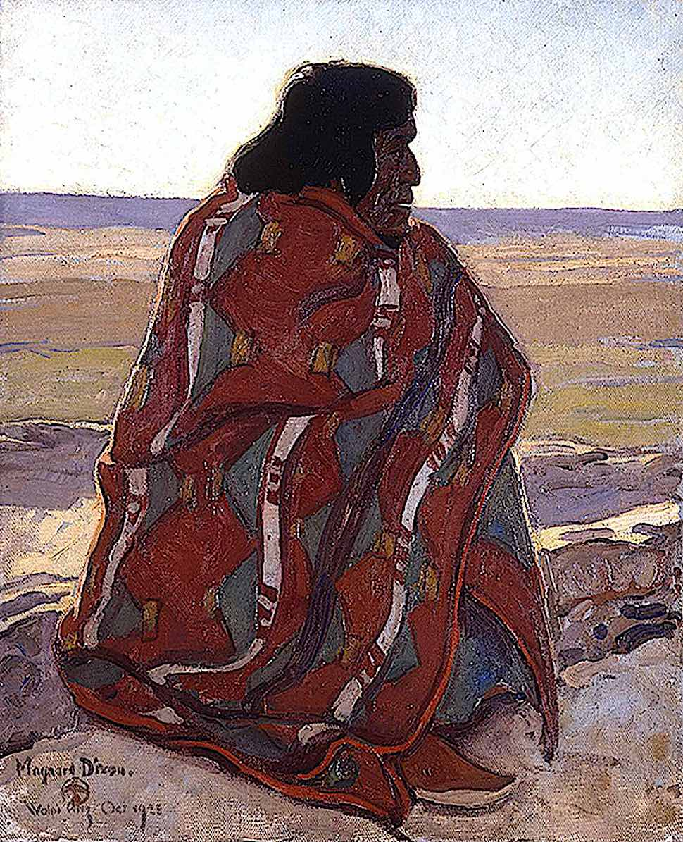 a 1923 Maynard Dixon painting of a seated aboriginal in profile