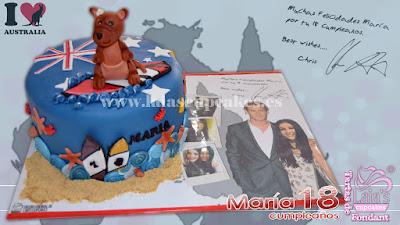 Tarta personalizada de fondant australia Cris hemsworth maria canguro Laia's Cupcakes Puerto Sagunto
