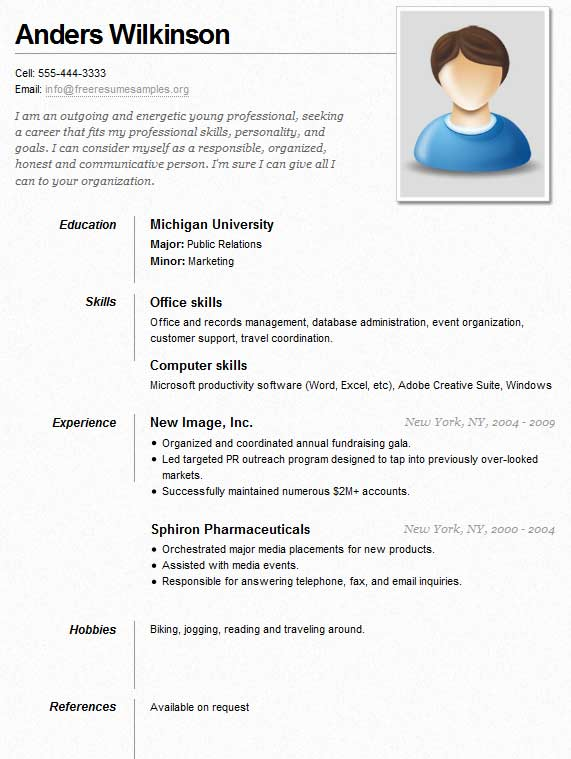 Sample Resume for a Job - Sample Resumes