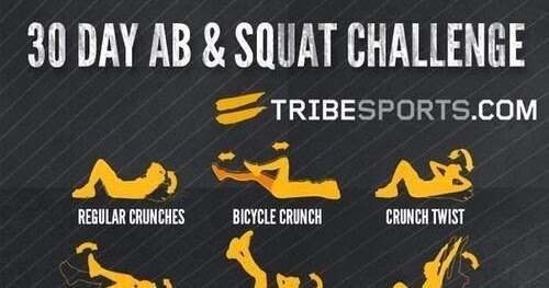 30 Day Ab And Squat Challenge Stomach Exercises Challenges