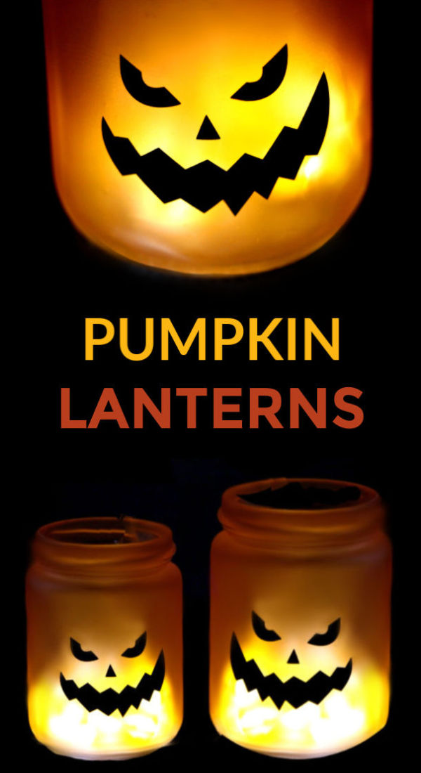 Light up the night this Halloween and make glowing pumpkin jars.  These glow stick jack-o-lanterns are easy to make and a great craft for all ages! #halloweenlights #halloweenlanterns #halloweenlanterndecor #halloweenpumpkins #glowingjars #glowingjackolanterns #glowingjarshalloween #glowstickjars #pumpkinjars #glowjars #halloweencraftsforkids #growingajeweledrose #activitiesforkids