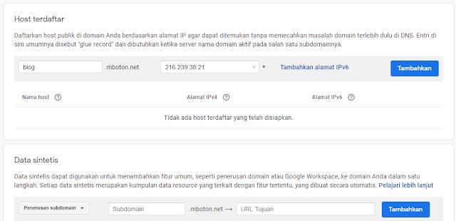 Meneruskan subdomain Anda Domain Google
