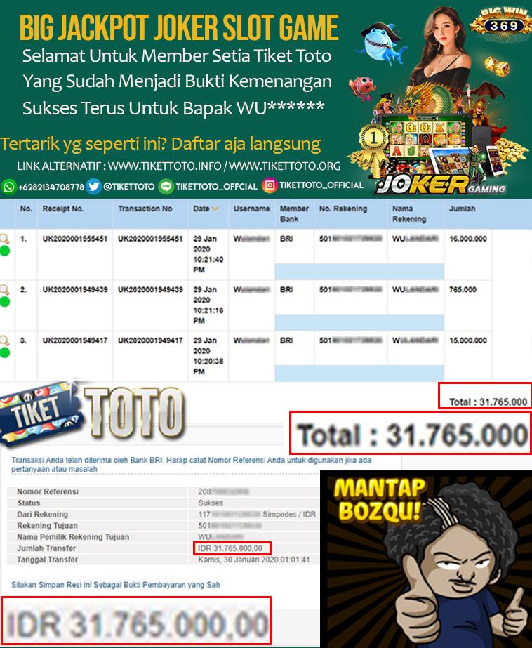 Jackpot Bermain Joker Slot Game Pada Tanggal 30 Januari 2020