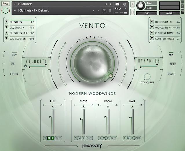 Interface da library Heavyocity - VENTO: Modern Woodwinds (KONTAKT)