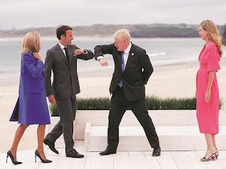Boris karate chops Macron at the G7 conference