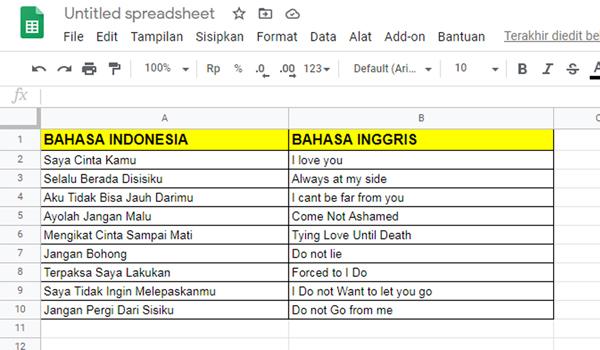 Cara Terjemah Bahasa Indonesia Ke Inggris Dengan Google Spreadsheet