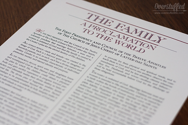 The Family: A Proclamation to the World is a document for our time.