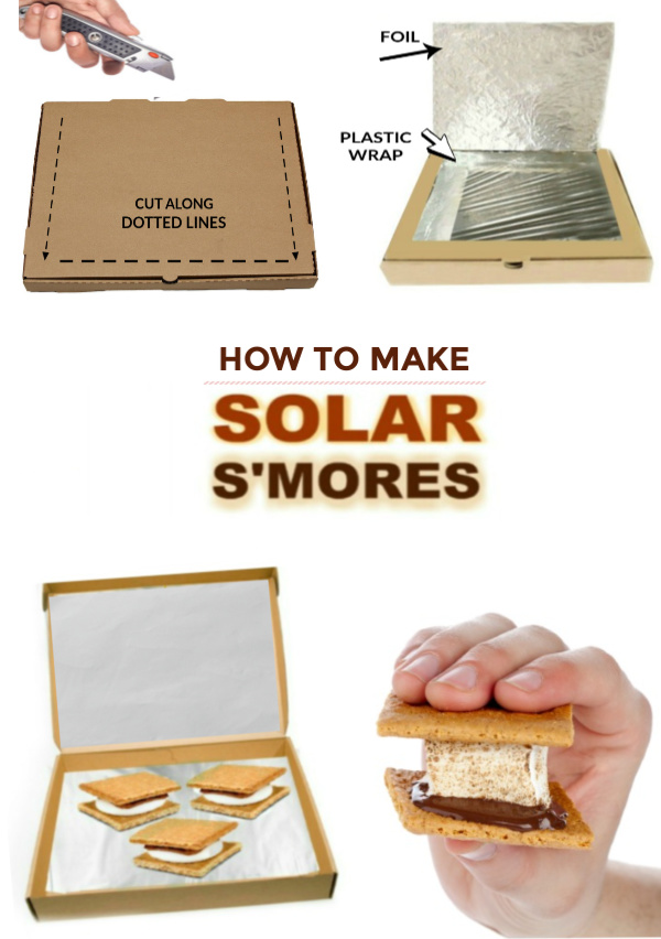 Wow the kids this summer and turn a pizza box into s'mores!  Make solar s'mores following this tutorial for a solar oven. #solaroven #solarsmoresovenkidscience #solarsmores #solarsmoresforkids #pizzaboxsolaroven #growingajeweledrose