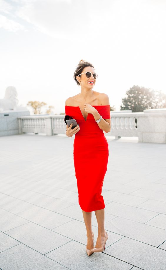 Off-Shoulder Red Mini Dress Amazingly Beautiful