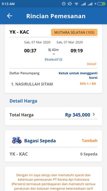 Fitur penambahan bagasi sepeda di aplikasi Kereta Api Indonesia