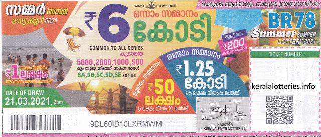 Kerala Lottery Next Bumper Summer Bumper 2021 BR-78 dated 21.03.2021