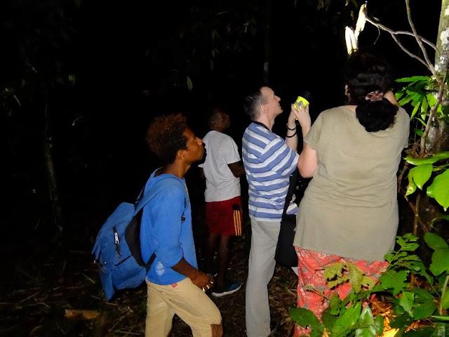 Pramuwisata sedang memandu wisatawan Russia di malam hari di hutan Manokwari