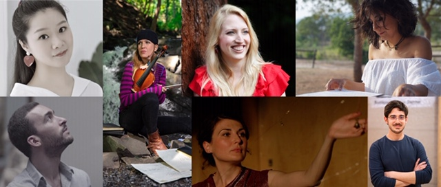 Riot Ensemble/Zeitgeist composers (clockwise from top left): Xue Han, Alexandra Dubois, Ailie Robertson,   Àngela Gómez Vidal, Leonardo Marino, Soosan Lolavar, Raphaël Languillat image1.jpeg