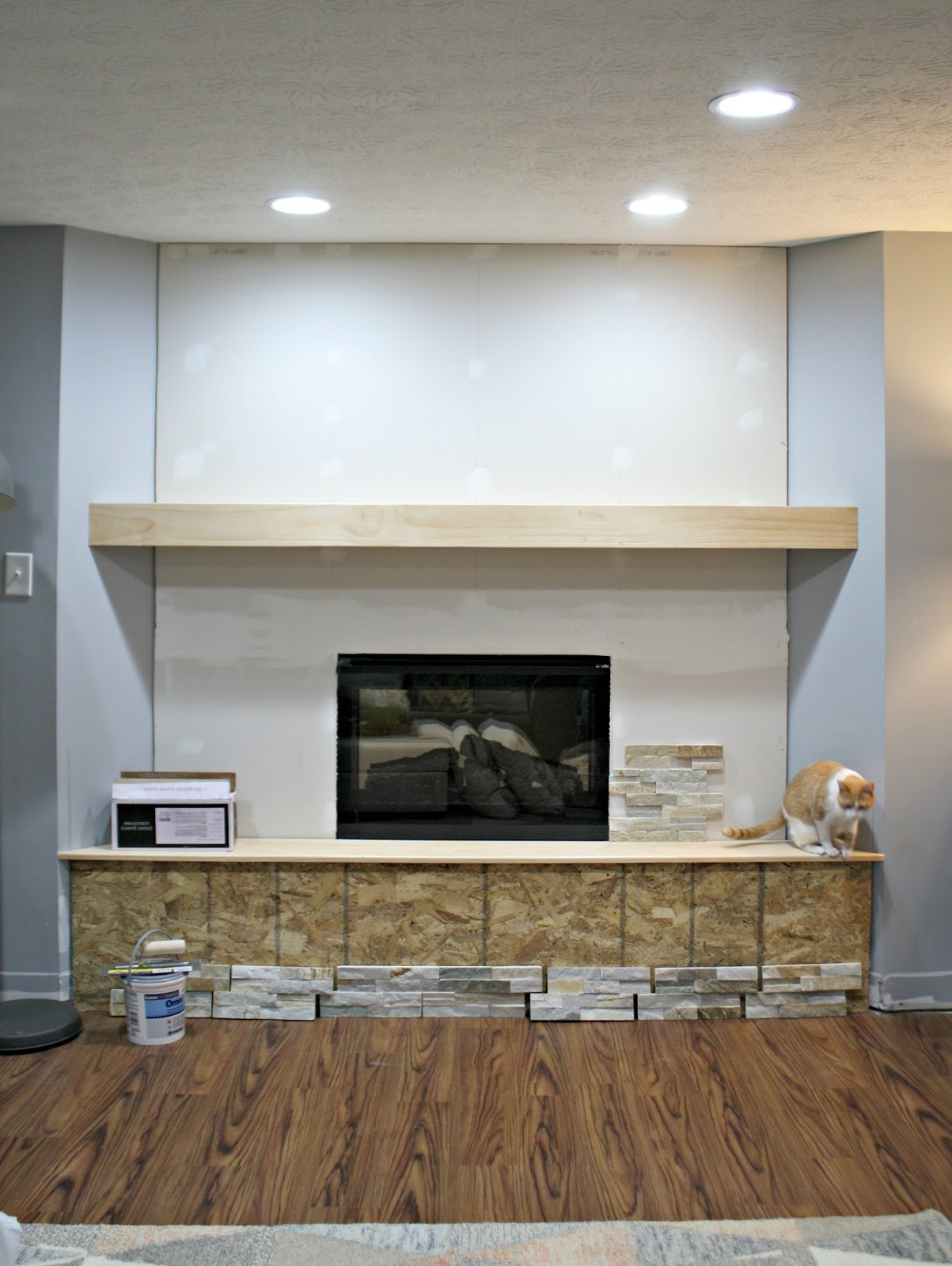 Basement fireplace progress! from Thrifty Decor Chick
