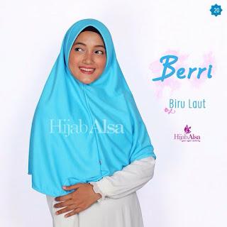 Hijab Alsa Berri Biru Laut
