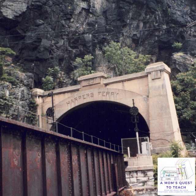 A Mom's Quest to Teach logo; Harpers Ferry Railroad tunnel