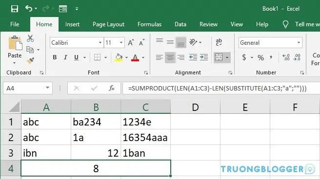 Cách đếm số lần xuất hiện của 1 ký tự trong Excel