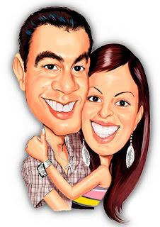 caricatura colorida de casal