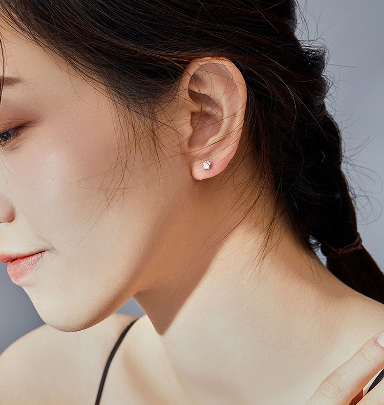 單鑽式貓掌粉色鋯石 925純銀耳環