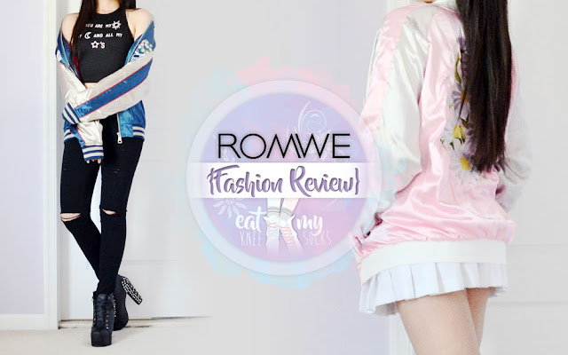 I recently got two pieces from Romwe that flaunt one of this season's most alluring trends: the souvenir jacket. From the elegant, intricate Eastern flair of the blue koi fish jacket to the sweet, pastel perfection of the pink daisy embroidered jacket, these silky pieces showcase opposite ends of this hot trend. - Eat My Knee Socks / Mimchikimchi