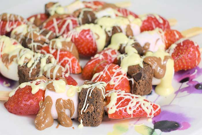 Fruit Marshmallow Kabobs With Chocolate Drizzle, Brownie, Marshmallows for Valentine's Day