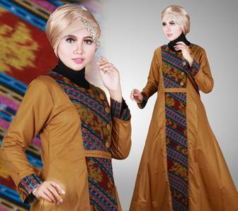 Gamis Batik Kombinasi Polos Modern Dan Trendi