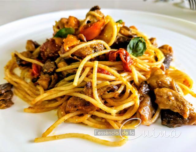Espaguetis, Girgoles, Xèrries, Pasta facil, cuina facil, l'essència de la cuina, blog de cuina de la sonia, setas