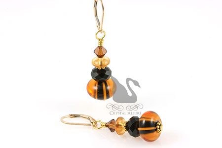 Stacked Gourds Crystal Lampwork Beaded Earrings (E242)