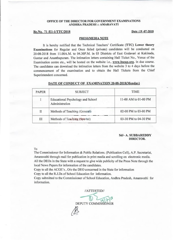 TTC Lower Theory Examinations for Regular and Once failed | Exam Date 20-08-2018 | Rc.No.71